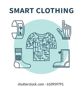 Smart clothing. Vector illustration for wearable technologies. Thin line icons of fitness tracker, smart shoes and gloves, e-textile. Concept design for blogs, web-sites, banners, advertising etc.