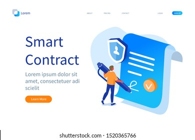 Smart Contract Banner Template. Man Character Signing Digital Signature at Online Business Contract. Data Protection and Privacy Policy Concept. Flat Isometric Vector Illustration.