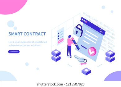 Smart contract concept with character. Can use for web banner, infographics, hero images. Flat isometric vector illustration isolated on white background.