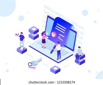 Smart contract concept with characters. Can use for web banner, infographics, hero images. Flat isometric vector illustration isolated on white background.