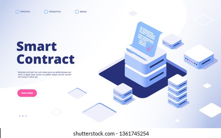 Smart contract concept. Digital signature document smart contracts finance data cryptography contractor agreement vector landing page