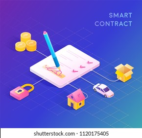 Smart contract concept illustration. Digital signature.