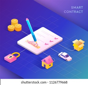 Smart contract concept illustration. Digital signature. Vector illustration