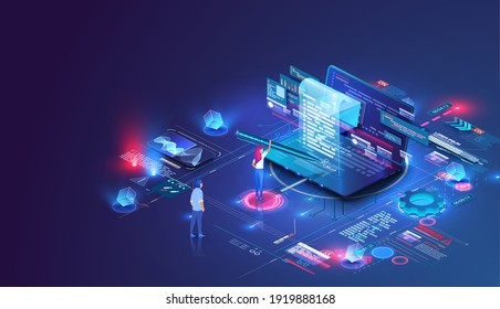 Smart contract and digital signature concept. Concept for electronic signature, distance business, Laptop and contract hologram image for signature. Girl putting signature into legal document. Vector