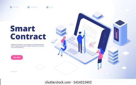 Smart contract. Digital signature electronic document smart contracts protocol facilitator cryptography agreement vector concept
