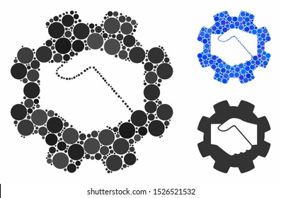 Smart contract handshake composition for smart contract handshake icon of small circles in various sizes and color tinges. Vector filled circles are united into blue composition.