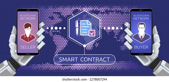 Smart Contract. Illustration on the subject of 'Financial / Business Technologies'.