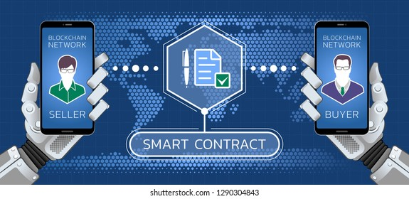 Smart Contract. Illustration on the subject of Financial Technologies  Business Technologies.
