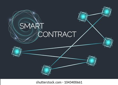 Smart contracts. Ethereum block chain technology, Vector illustration.