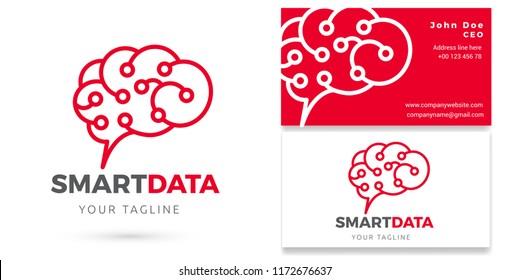 SMART DATA, Data analytics Logo & Business card, Digital Analytics Brand Vector Design