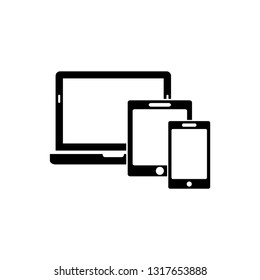 Smart Devices icon. Phone icon, tablet, laptop icon. Symbol of notebook and mobile phone. Smart vector electronic device isolated on white background.