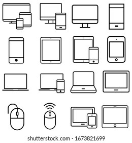 smart devices icons vector set. gadgets illustration sign collection. computer equipment and electronics symbols.