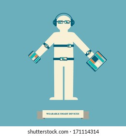 Smart devices infographics with trendy wearable smart electronics. Eps10 vector illustration.