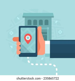 Smart Devices in Local Business Marketing. Consumer uses mobile device to find local businesses