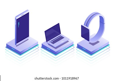 Smart devices on wireless battery charger .Conceptual isometric icons of laptop, phone,watches.Vector isometric illustration isolated on white background