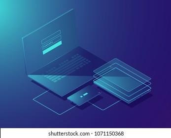 Smart devices synchronization, isometric vector cloud storage technology, file transfer, two stage authorization user, laptop smartphone tablet icon, neon dark gradient background