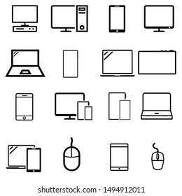 Smart devices vector icons set. Smart devices icon. Gadgets illustration symbol collection.  computer equipment and electronics sign or logo.