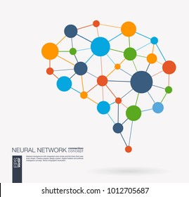 Smart digital brain idea. Futuristic neural network interact grid concept. Artificial intelligence creative think mesh system connect. Abstract background with integrated circles and lines. Vector