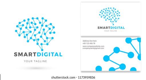Smart Digital, Digital Services Logo & Business card, Technology, Internet Marketing Vector Logo