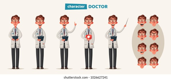 Smart doctor. Funny character design. Cartoon vector illustration
