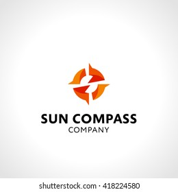 Smart and Dynamic Graphic Symbol Suggesting Sun and Compass Shape. Expresses Success, Confidence, Optimism, Wanderlust, Energy, Power, Vigour, Warmth, Vitality etc. Vector Illustration.