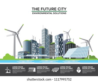 Smart eco city banner, alternative energy and ecology Infographics concept