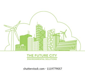 Smart eco city banner, alternative energy and ecology concept