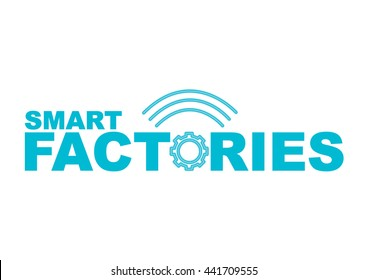 Smart Factories concept vector logo. Gear and wifi waves to symbolize the industry 4.0, the IT revolution of automation and data exchange in manufacturing technologies.