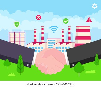 Smart factory building flat style vector illustration. Businessmen handshaking agreement and starts and manage huge plant with application. Green grass and cloudy sky behind scene.
