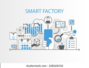Smart factory concept with hand holding modern bezel free smartphone