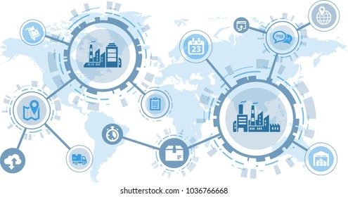 smart factory / digitalization concept: cooperation and data exchange worldwide between companies