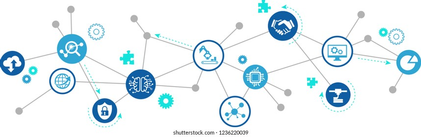 smart factory, smart industry, iot concept – vector illustration: big data / cloud solutions / innovative production / simulation