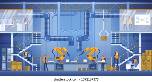 Smart factory interior with robotic arms, workers, engeneers and manager. Smart industry 4.0. High detailed vector illustration