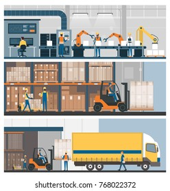 Smart factory, warehouse, freight transportation and professional workers, banner set