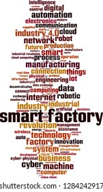 Smart factory word cloud concept. Vector illustration
