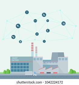 Smart factory.Industry 4.0.Artificial intelligence.Neural network.Vector illustration in flat style.