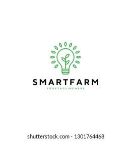 Smart farm with bulb and leaf symbol logo template