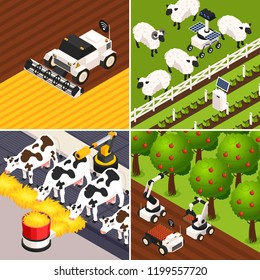Smart farm concept icons set with farm animals isometric isolated vector illustration