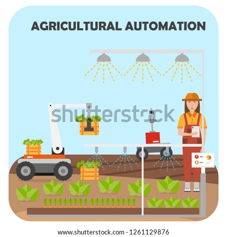 Smart Farm Flat Background Agricultural Automation Stock Vector