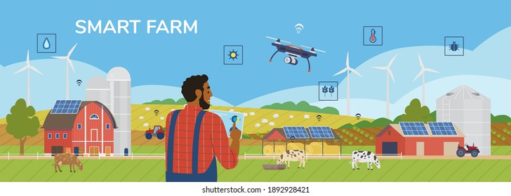 Smart Farm Horizontal Vector Banner. African American Farmer Holding Tablet Managing Farm With Mobile App With All Farming Data. Rural Scenery With Solar Panels, Windmills, Drone, Cows, Tractor.