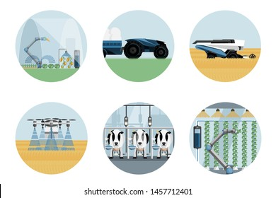 Smart farm set. Modern greenhouse with robotic arm, autonomous tractor and harvester, drone-sprayer, automated milking and vertical gardening. Agriculture 4.0. Vector illustration EPS 10