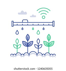 Smart farm technology and innovation, plant stem automated watering, distant control solution, dropping tube,  vector line icon, linear illustration
