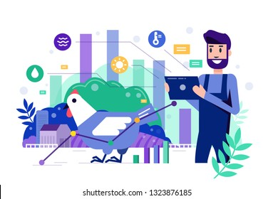 Smart farmer using tablet to monitor and control chicken farm. Modern agriculture concept. Flat design elements. Vector illustration