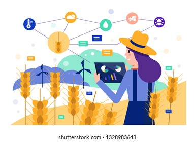 Smart farmer using tablet to monitor barley rice field. Modern agriculture concept. Flat design elements. Vector illustration