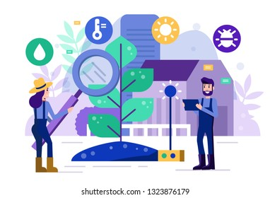 Smart farmers monitor and analysis data in vegetable farm. Modern agriculture concept. Flat design elements. Vector illustration