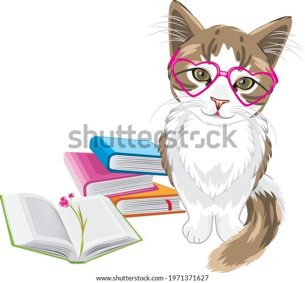 smart-funny-kitten-books-vector-600w-197