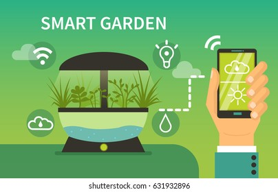 Smart garden concept design for web banners, infographics. Man fill online form on laptop. Flat style vector illustration.
