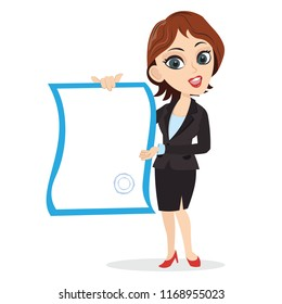 smart girl business lady manager ceo team leader worker employee showing a blank empty template paper contract deed agreement