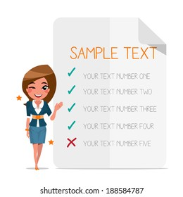 Smart girl with choice paper background - vector illustration