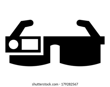 Smart glasses with camera and screen vector icon